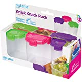 Sistema to GO Knick Knack Medium Food Storage Container (3 Pack), Clear