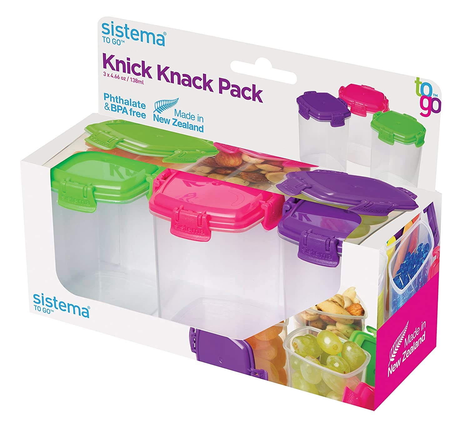 Amazon.com Sistema To Go Collection Mini Knick Knack Pack Food Storage Containers 2 Ounce each Assorted Colors Set of 4 Kitchen u0026 Dining  sc 1 st  Amazon.com & Amazon.com: Sistema To Go Collection Mini Knick Knack Pack Food ...