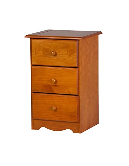 100% Solid Wood 3 Drawer Night Stand By Palace Imports, Honey Pine Color