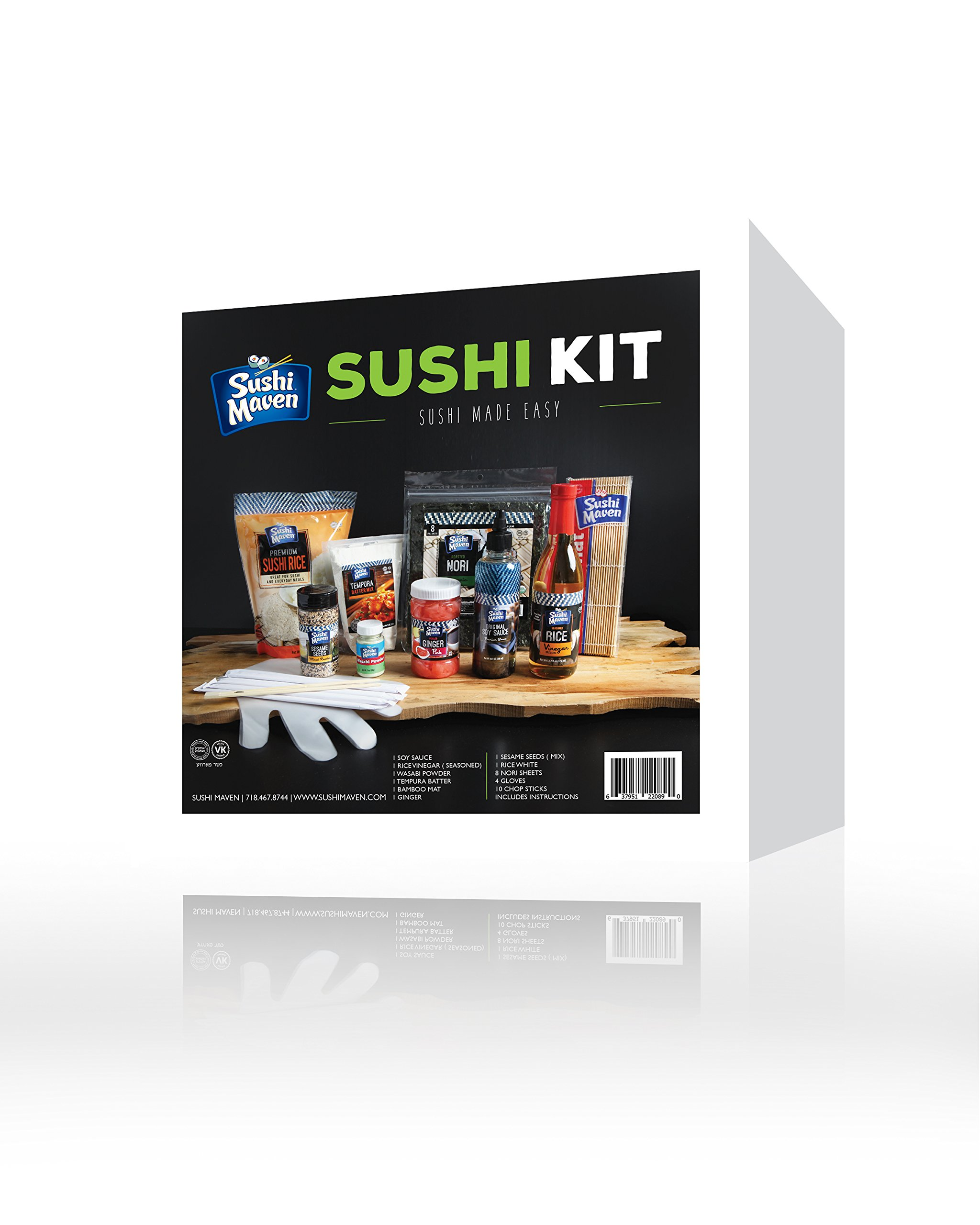 Sushi Kit- DIY Sushi Making Kit- At Home Japanese Roll Maker Set- Learn to Make Sushi Set- With Bamboo Mat Included- For 16 Assorted Rolls- Perfect Gift