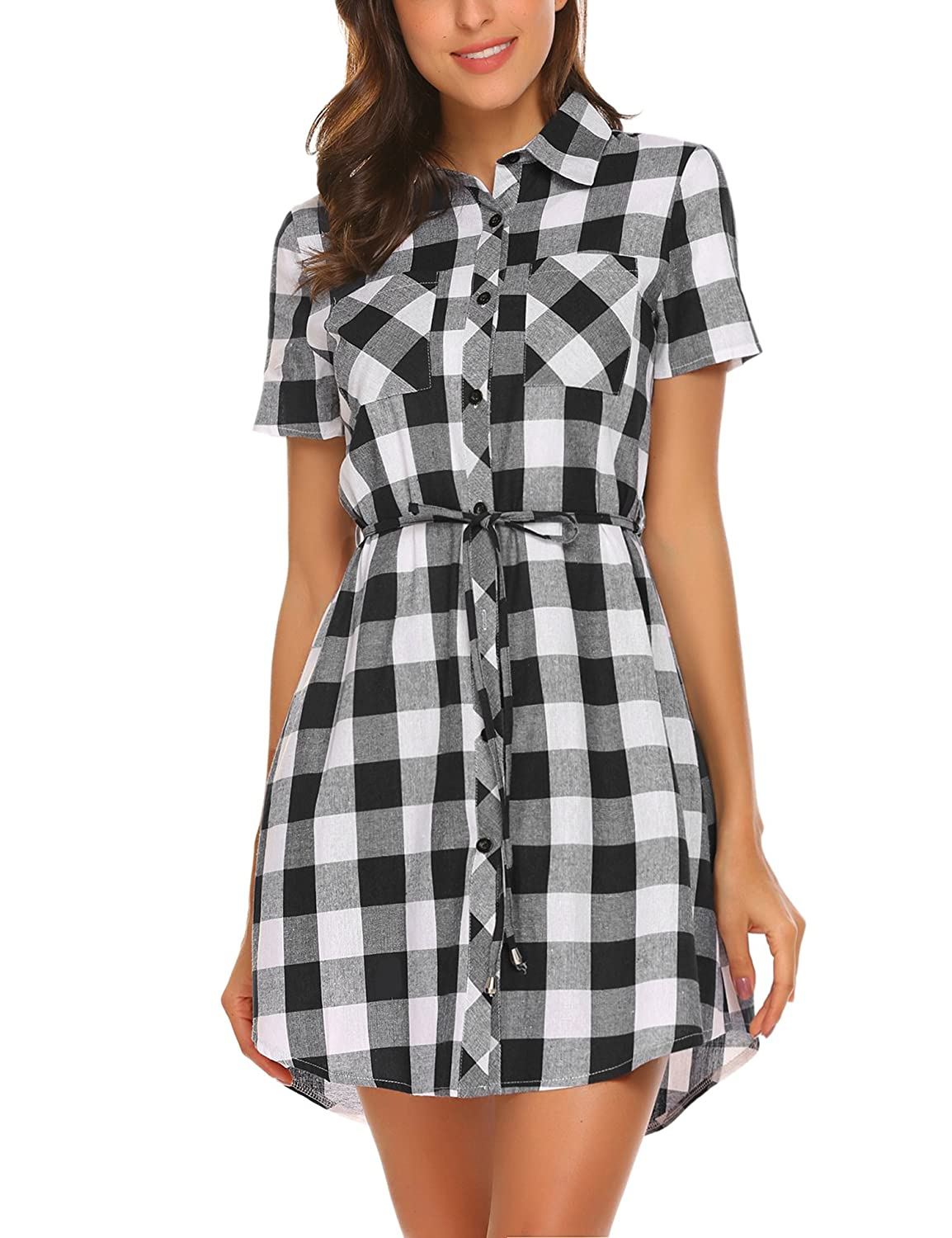 Hotouch Women's Roll Up Sleeve Slim Plaid Shirts Button Down Belted Shirt Dresses AMH006445