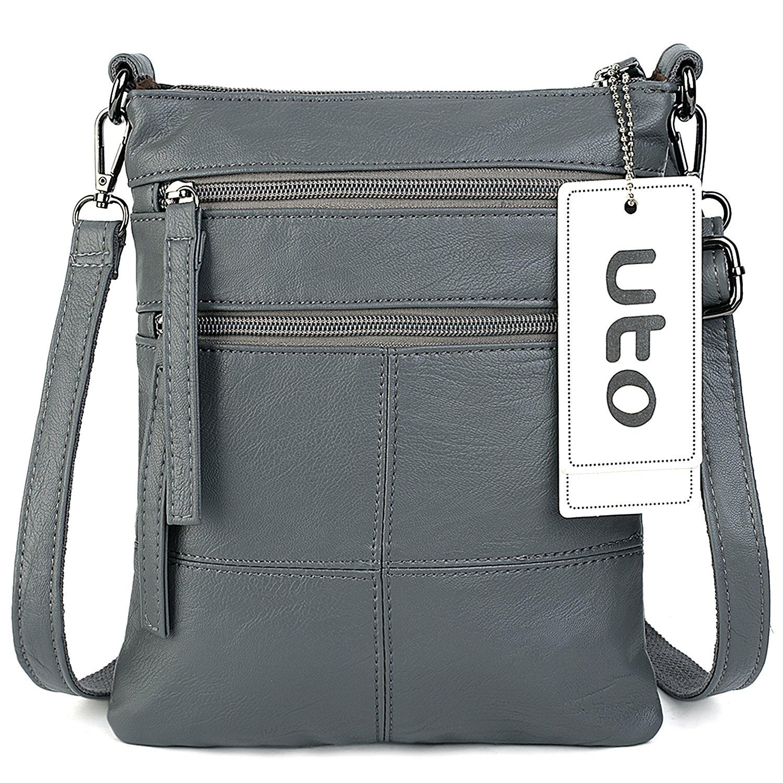 UTO Women Small Crossbody Bag Roomy Multi Pockets Cell Phone iPad-Mini Kindle Holder Shoulder Purse Wallet Bags CA
