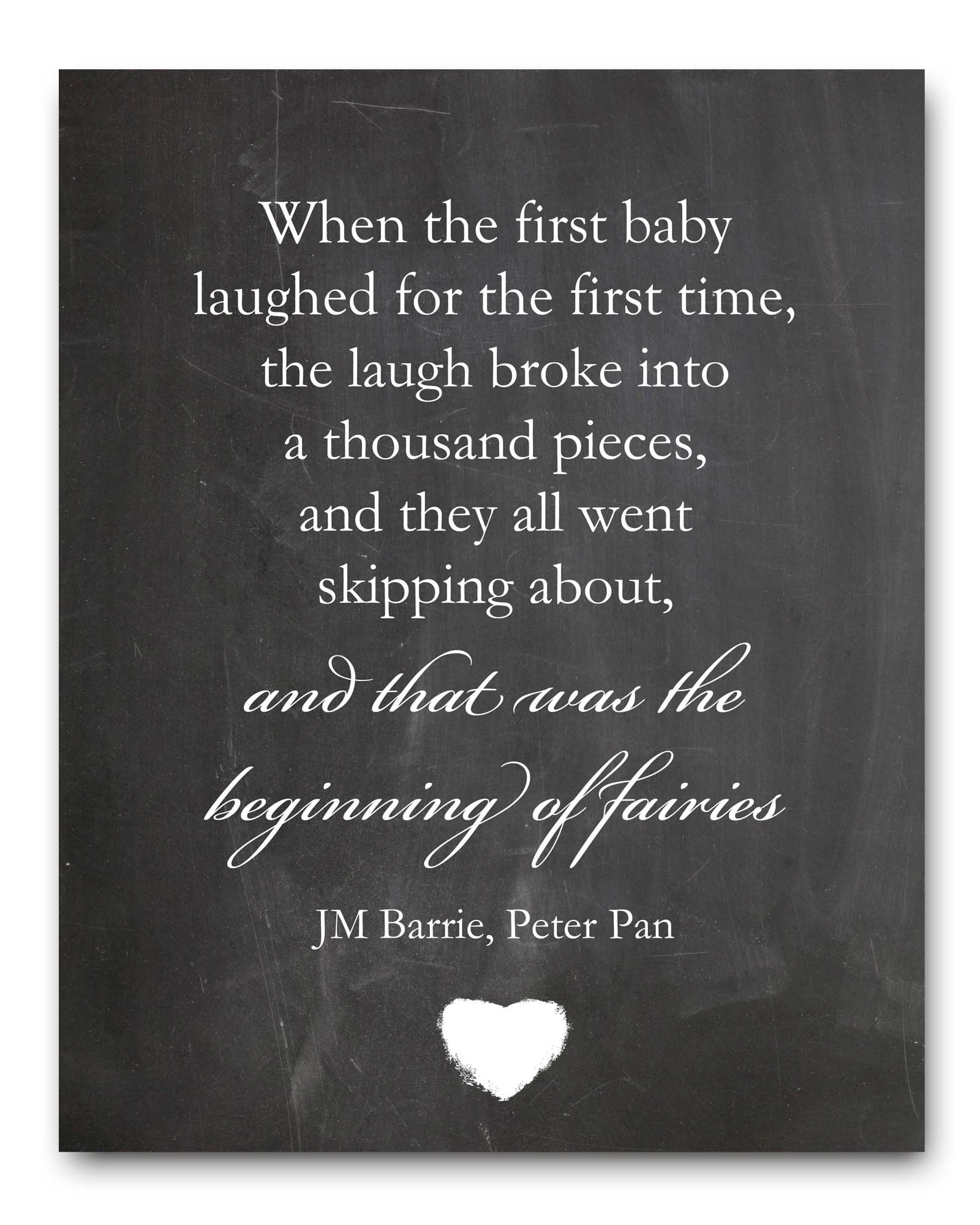 Nursery Wall Art Peter Pan Quote Chalkboard Print 8x10'', Perfect Baby Shower Gift or New Baby Gift
