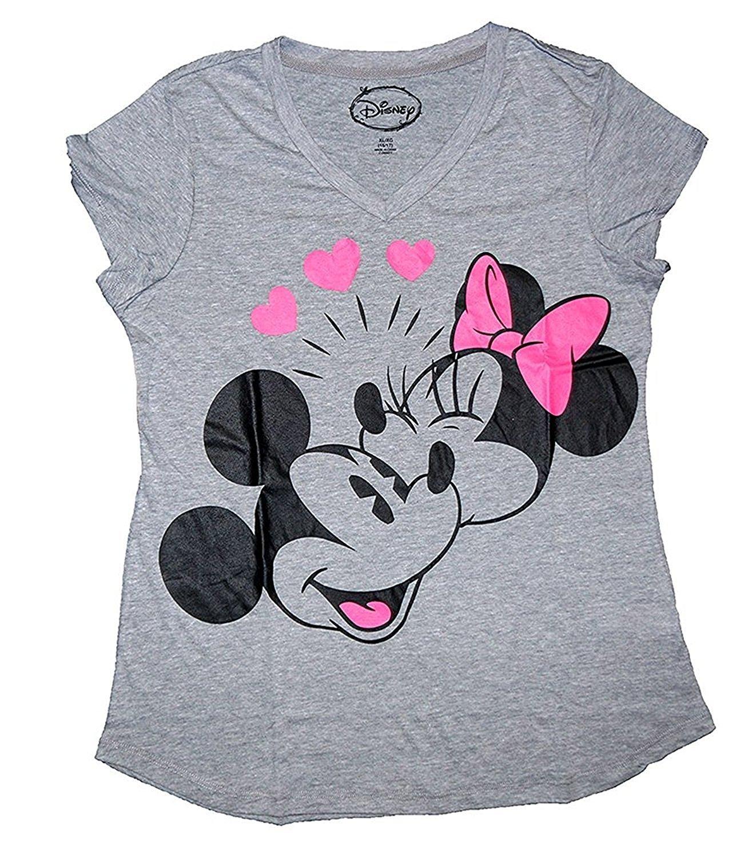 Disney Classic Mickey & Minnie Mouse Womens Pajama T Shirt Top - Grey