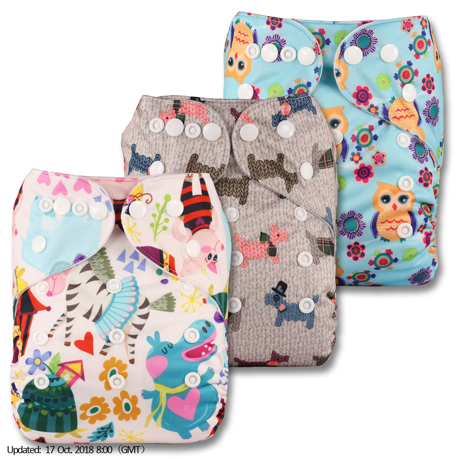 Fastener: Popper Littles /& Bloomz Patterns 329 with 6 Bamboo Inserts Reusable Pocket Cloth Nappy Set of 3