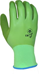 G & F 1537M-6 Aqua Gardening Women's Gloves with Double Microfoam Latex Water Resistant Palm, Medium, 6 Pair Pack