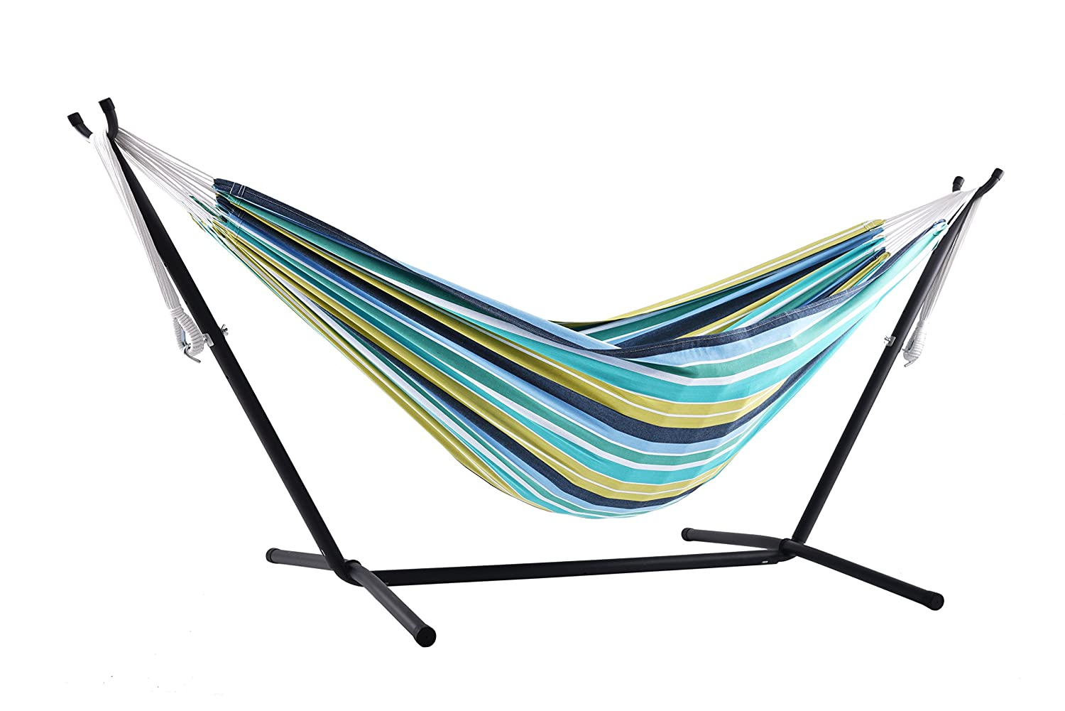 d4a3e0f1a11 Amazon.com : Vivere Double Cotton Combo Hammock with Stand, Cayo Reef :  Garden & Outdoor