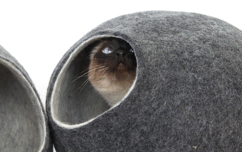 kivikis Cama de gato, casa, cuevaHecho a mano.Fieltro.Lana natural y ecológica.Tamaño L (gris oscuro).: Amazon.es: Productos para mascotas