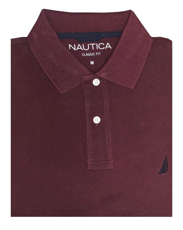 e33a51709 Nautica Mens Long Sleeve Classic Fit Logo Polo Pique Shirt at Amazon Men s  Clothing store