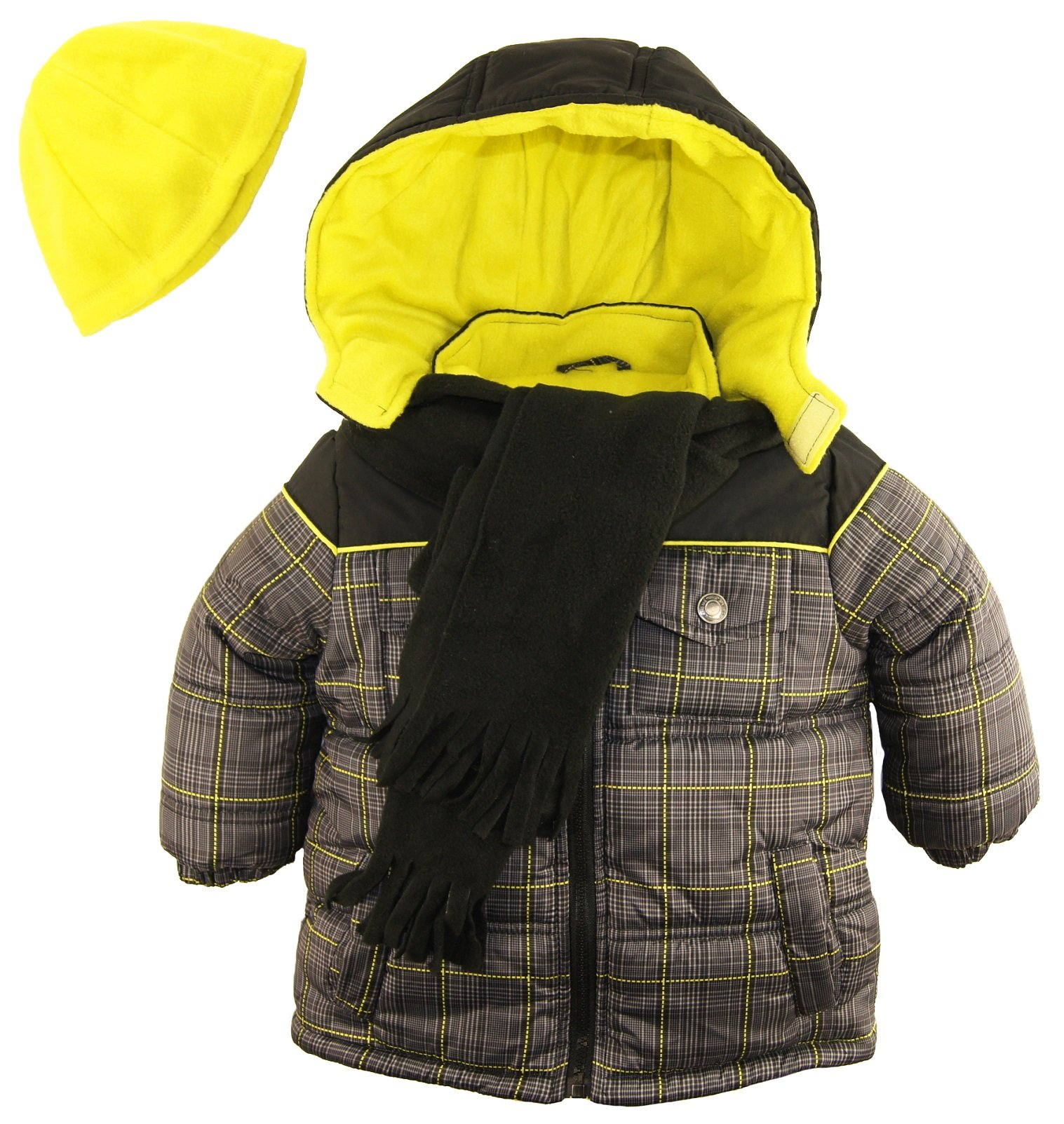 iXtreme Little Boys' Puffer Coat in Plaid with Hat and Scarf, Black, 2T