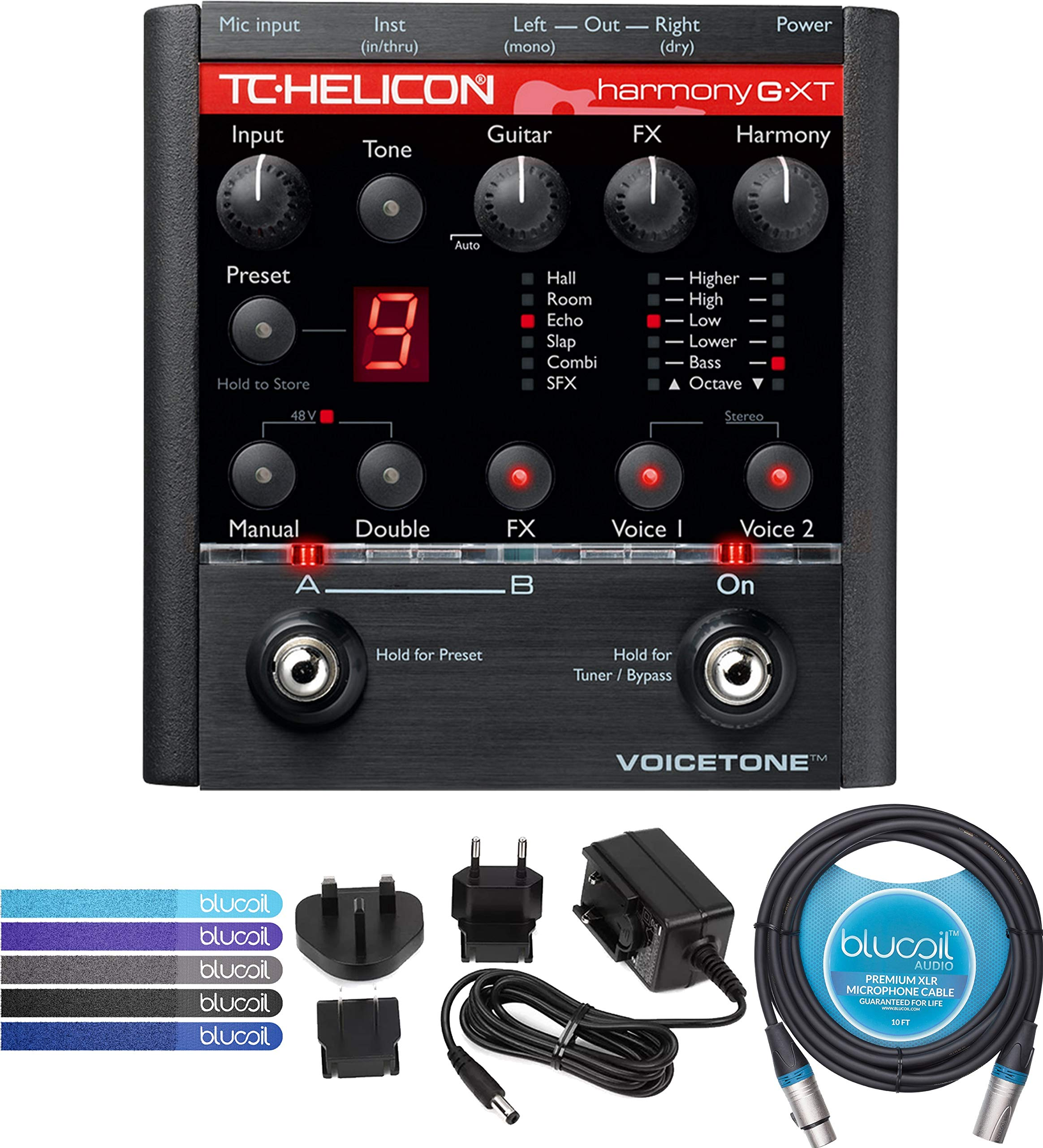TC Helicon VoiceTone Harmony-G XT Vocal Effects Pedal Bundle with 12V Power Supply (Tip Negative Center), Blucoil 10-FT Balanced XLR Cable, and 5-Pack of Reusable Cable Ties by blucoil