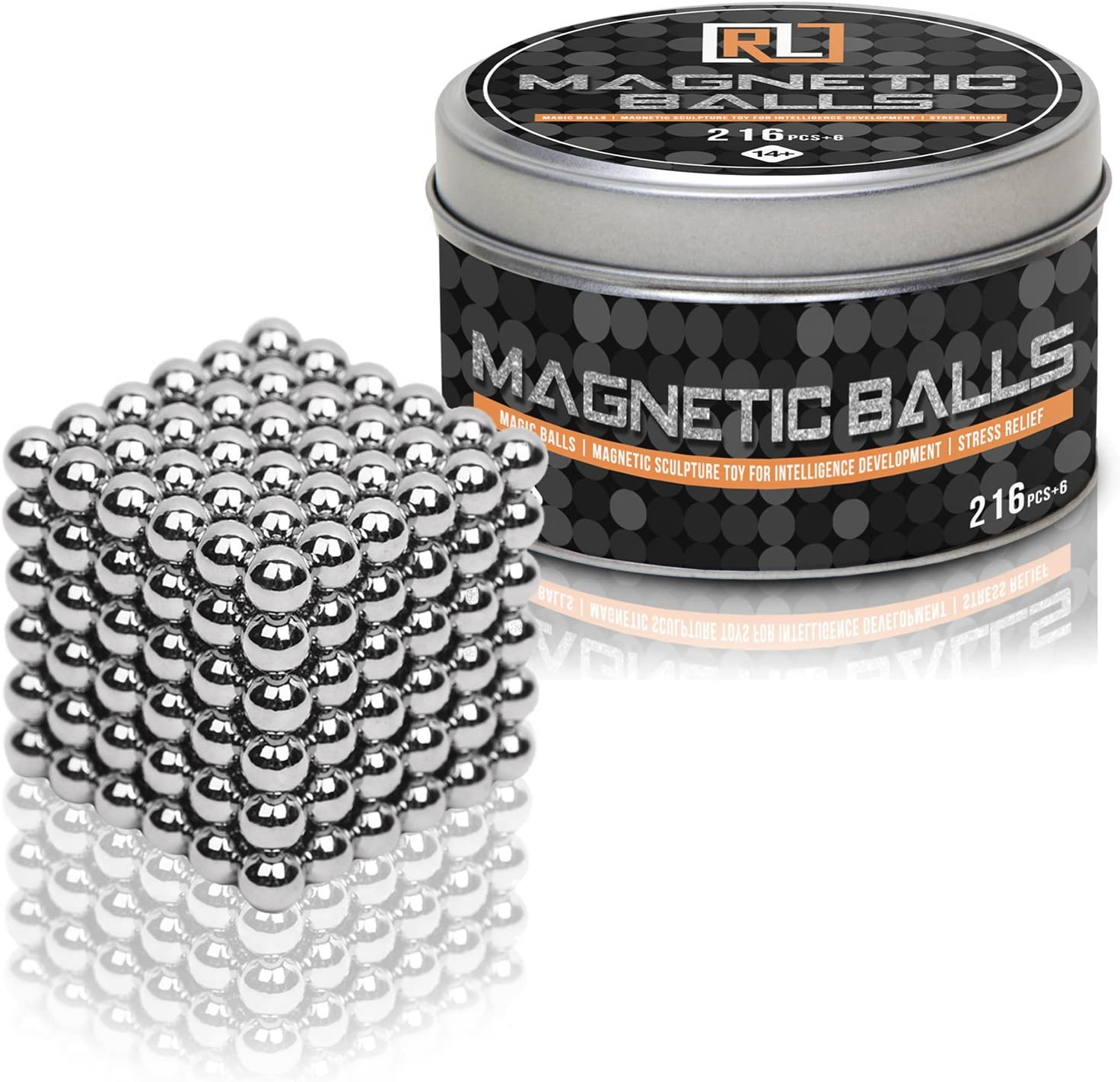 Magnetic Balls 5 mm 216 + 6 Cube Fidget Gadget Toys Rare Earth Magnet Office Desk Toy Games Magnet Toys Beads Stress Relief Toys for Adults (222 Pieces)