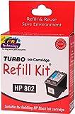 Turbo Ink Cartridge Refill Kit for hp 802 Black Ink Cartridge