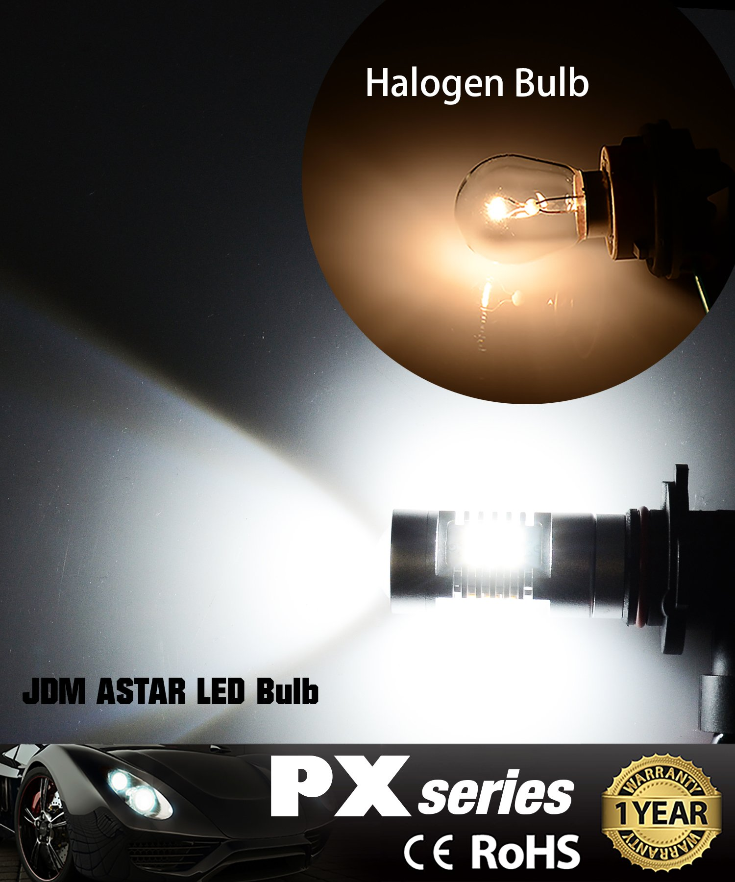 JDM ASTAR 2520 Lumens Extremely Bright PX Chips H10 9140 9145 LED Fog Light Bulbs with Projector for DRL or Fog Lights, Xenon White by JDM ASTAR (Image #2)