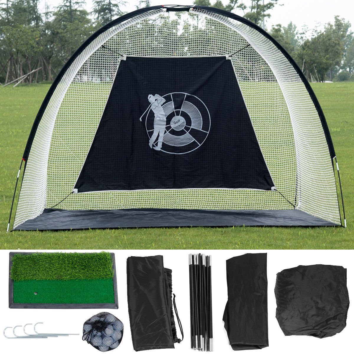 TANGKULA 10'Golf Net Indoor Outdoor Training with Target for Practice Hitting Cage Chipping