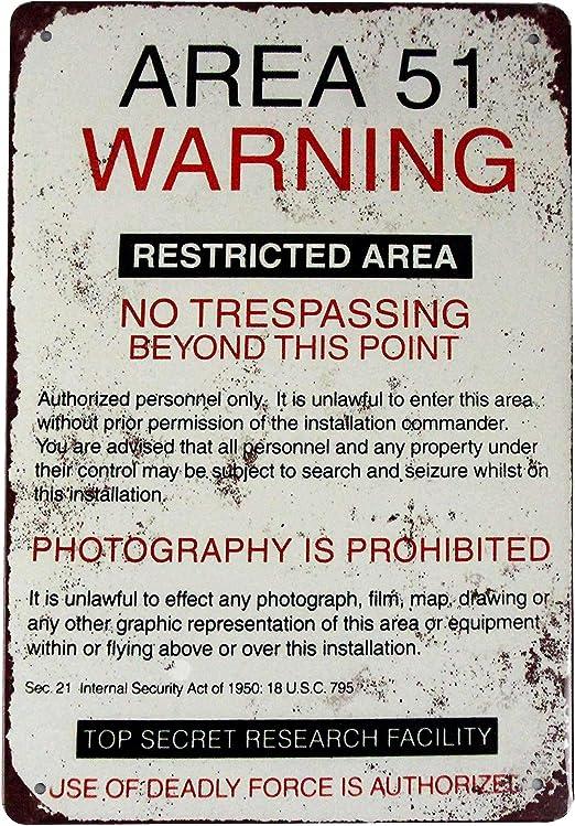 Area 51 Aged Warning Safety Sign Vintage Look Metal Plaque shed garage mancave