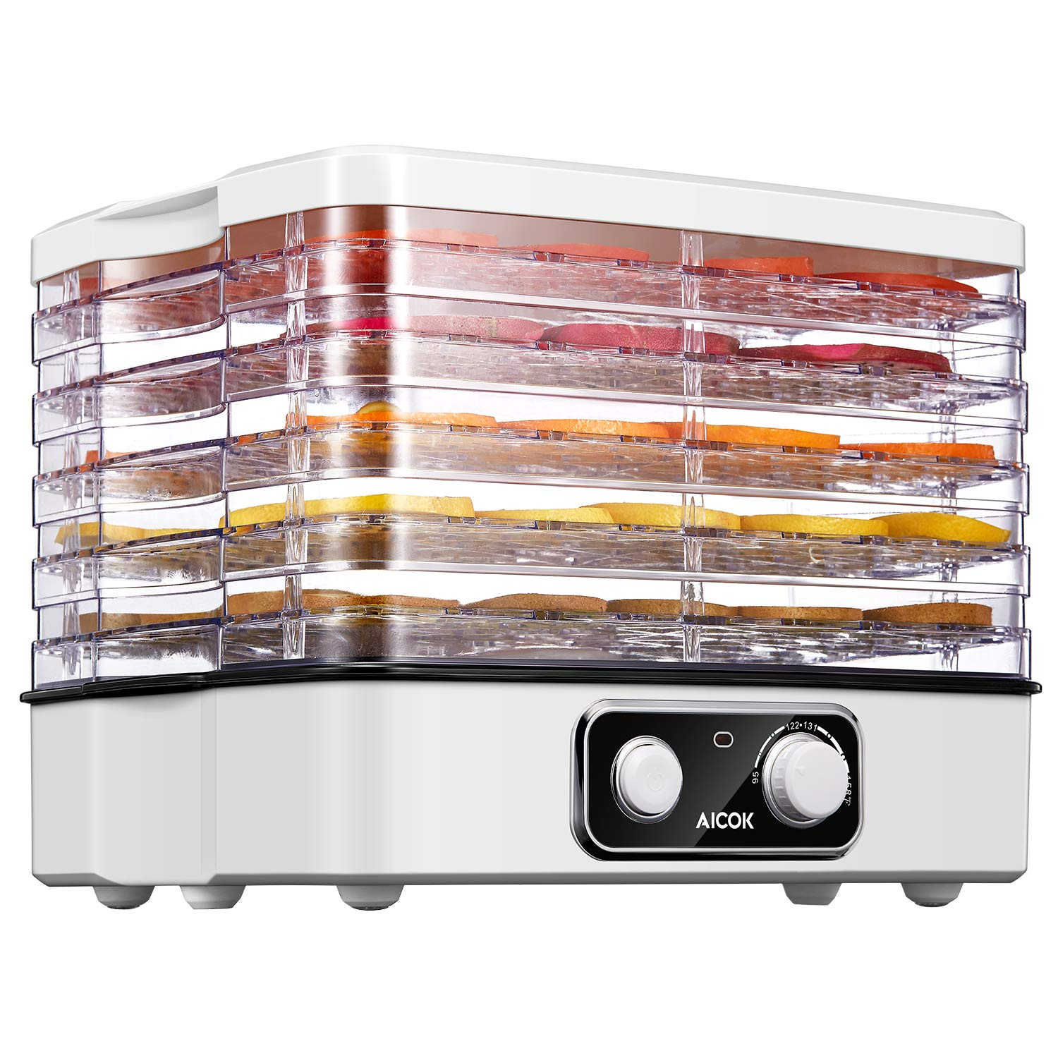 AICOK Food Dehydrator, 5-Tray Food Dehydrator Machine with Temperature Settings for Jerky, Meat, Fruit, Vegetable & Herb, Extensible Capacity, BPA-Free, ETL & FDA Certified by AICOK