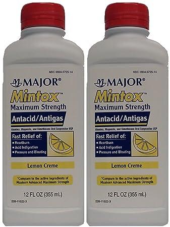 Mintox Maximum Strength Antacid Anti-Gas Liquid Generic for Maalox Max Lemon Flavor 12 oz