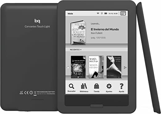 bq Cervantes Touch Light, 4GB. E-reader táctil con Wi-Fi: Amazon ...