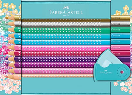 Faber-Castell 201641 Sparkle Buntstifte - Juego de 20 lápices de colores y 1 estuche de lápices, Multicolor: Amazon.es: Oficina y papelería