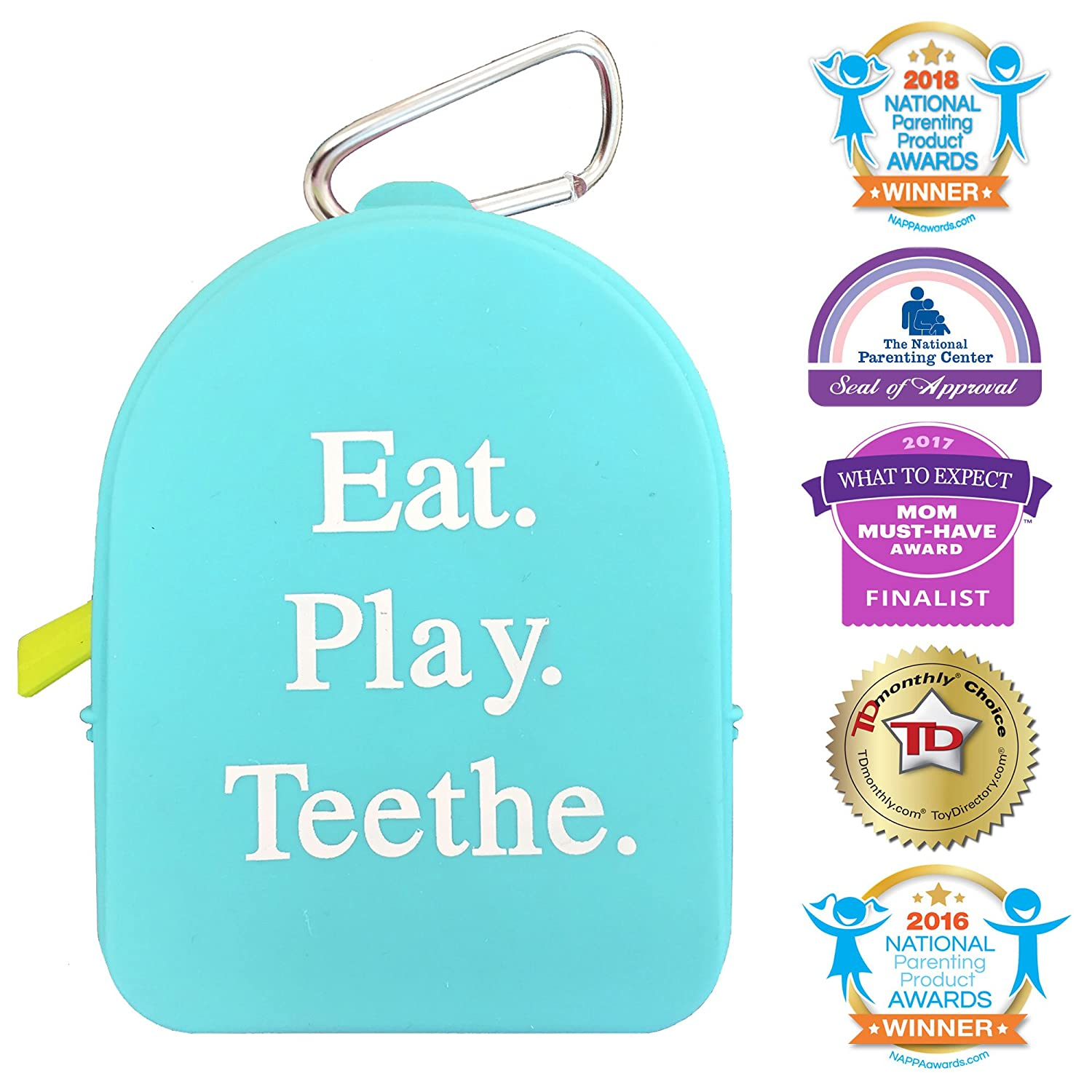 Silli Chews Pacifier Pouch Pod and Teether Case Silicone Diaper Bag Keychain Blue
