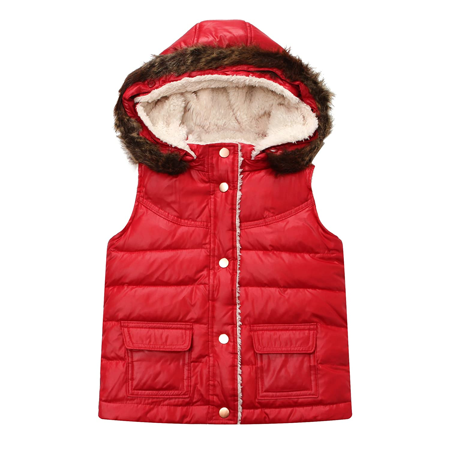Richie House Little Girls' Padding Vest with Detachable Hood RH1095