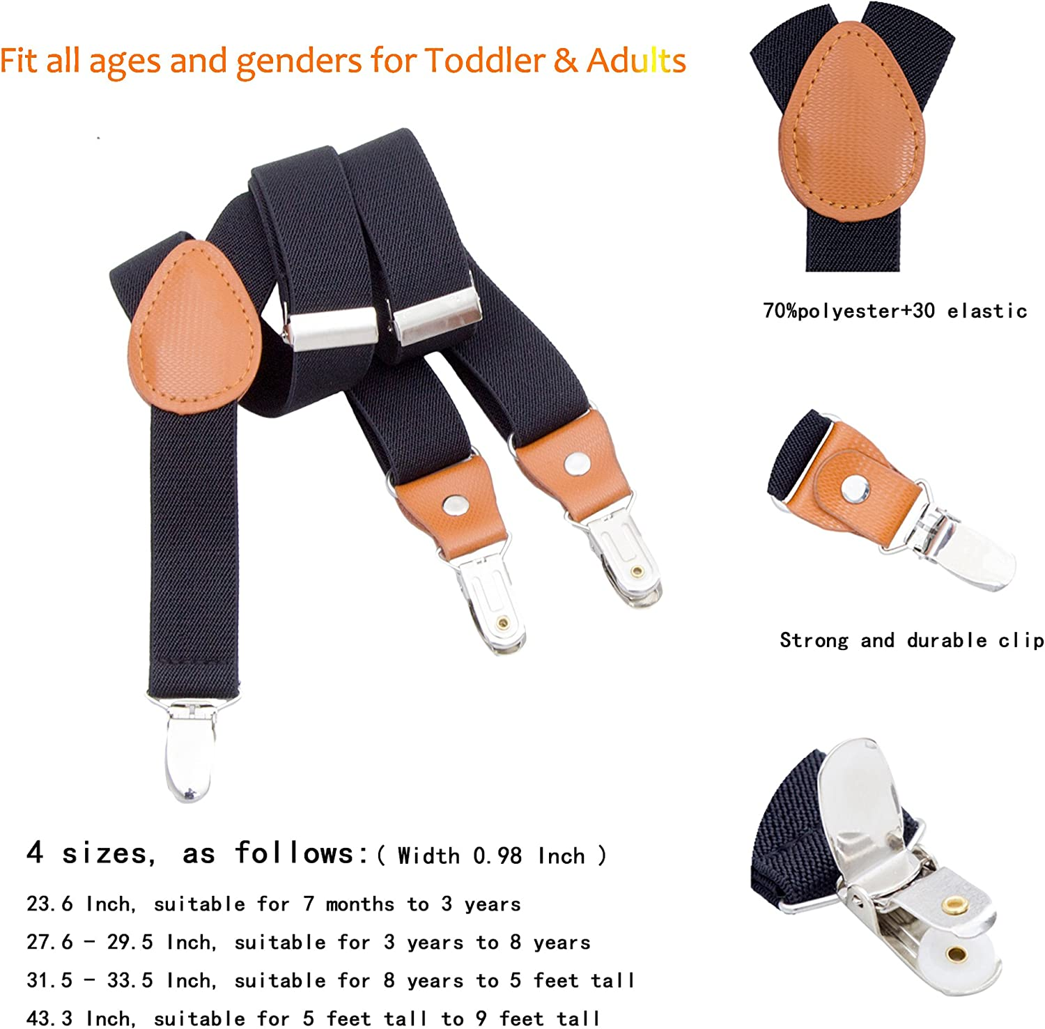 Adjustable Elastic Y-Back Strong Clips Suspenders Braces for Kids Boys Girls
