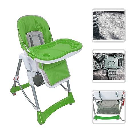Todeco - Silla Alta de Bebé, Silla Plegable para Bebés, verde, tamaño desplegado 105 x 75 x 60 cm
