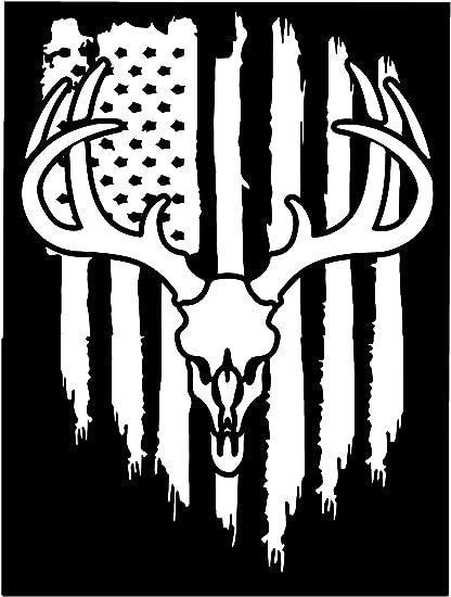 Amazon Com American Flag White Tail Deer Antler Hunting Buck Vinyl