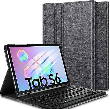 ELTD Teclado Estuche para Samsung Galaxy Tab S6 10.5,[QWERTY diseño en inglés], Protectora Cover Funda con Desmontable Wireless Teclado para Samsung Galaxy Tab S6 T860/T865 10.5 dispositivoa, (Negro): Amazon.es: Electrónica