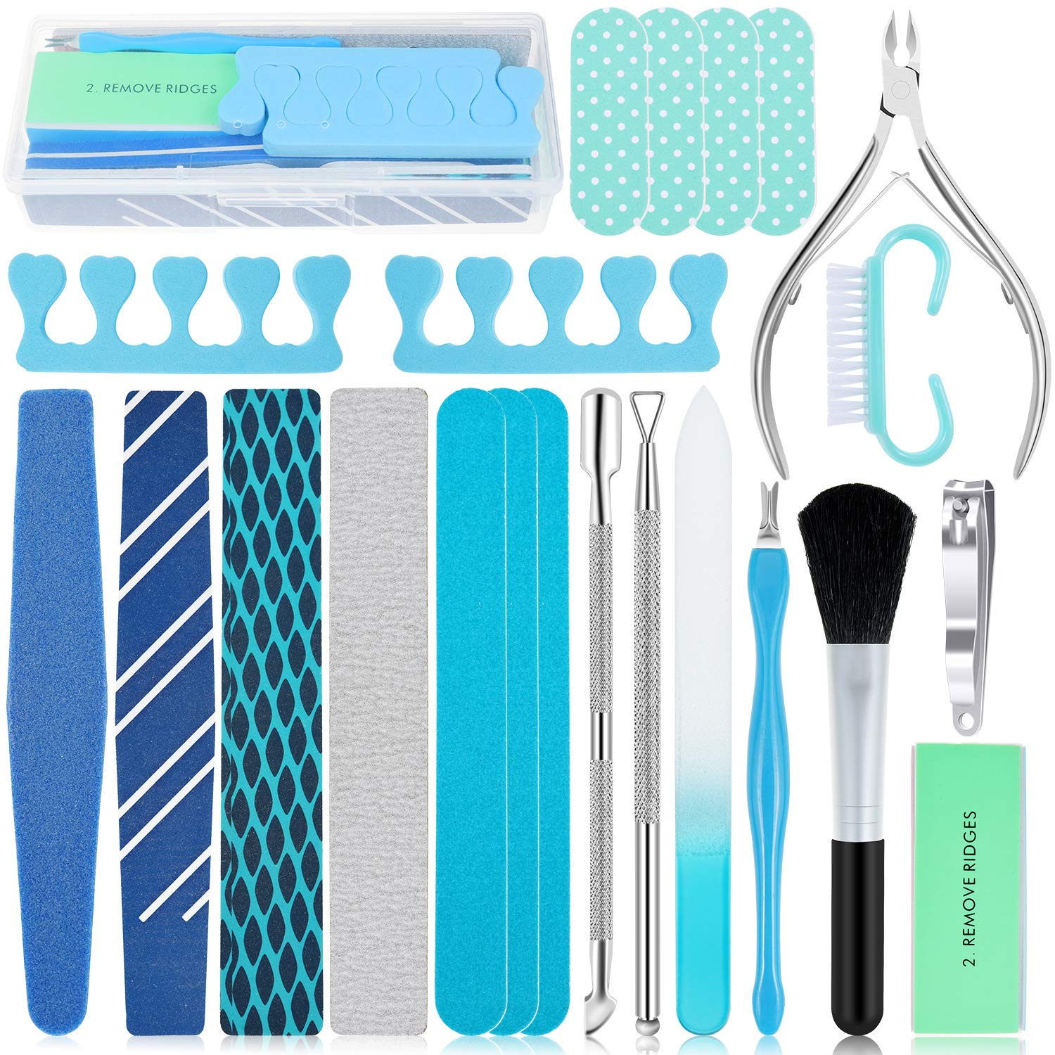EAONE 22 in 1 Nail Files and Buffers Set Professional Manicure Pedicure Tools Kit Nail Art Tool with Nail Files and Buffers Cuticle Nipper Cuticle Pusher Nail Cutter for Women Men Hand and Foot Care : Beauty