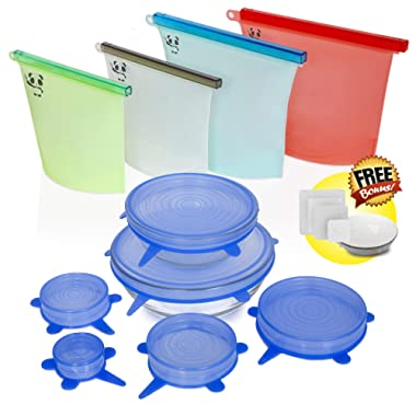 Reusable Silicone Food Storage Set by Picky Panda | Reusable Silicone Food Bags, Reusable Silicone Food Bags 4 Pack, Silicone Stretch Lids, Silicone Stretch Lids Reusable, Silicone