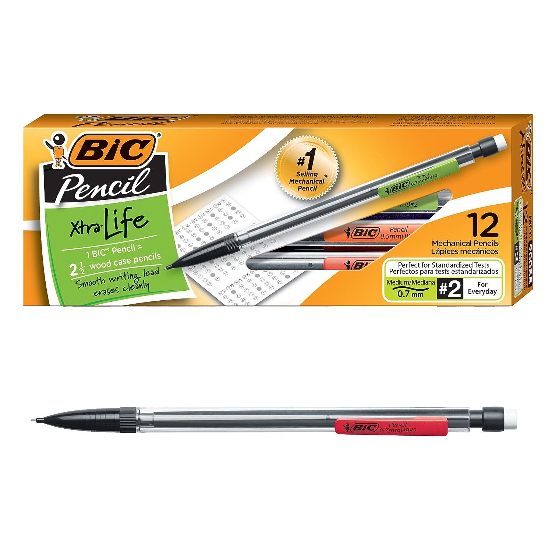 Bic Xtra Life Mechanical Pencil Clear Barrel Medium Point 07mm 12 Count