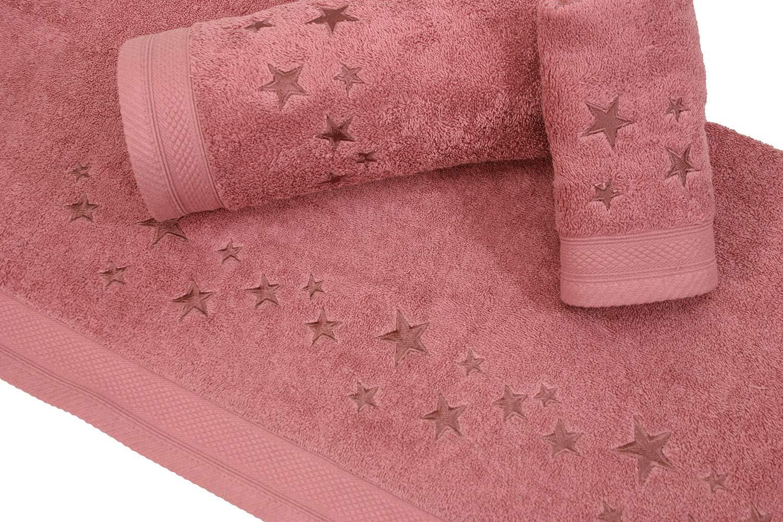 Montse Interiors Juego de Toallas Bordadas 3 Piezas 550gr Rosa Palo Big Stars N/º14
