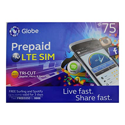 Globe Prepaid LTE Philippines Sim Card Tri Cut Nano Micro