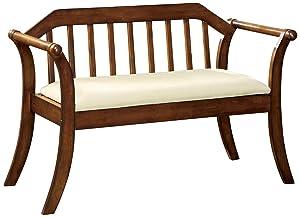 Furniture of America Halton Accent Bench, Dark Oak