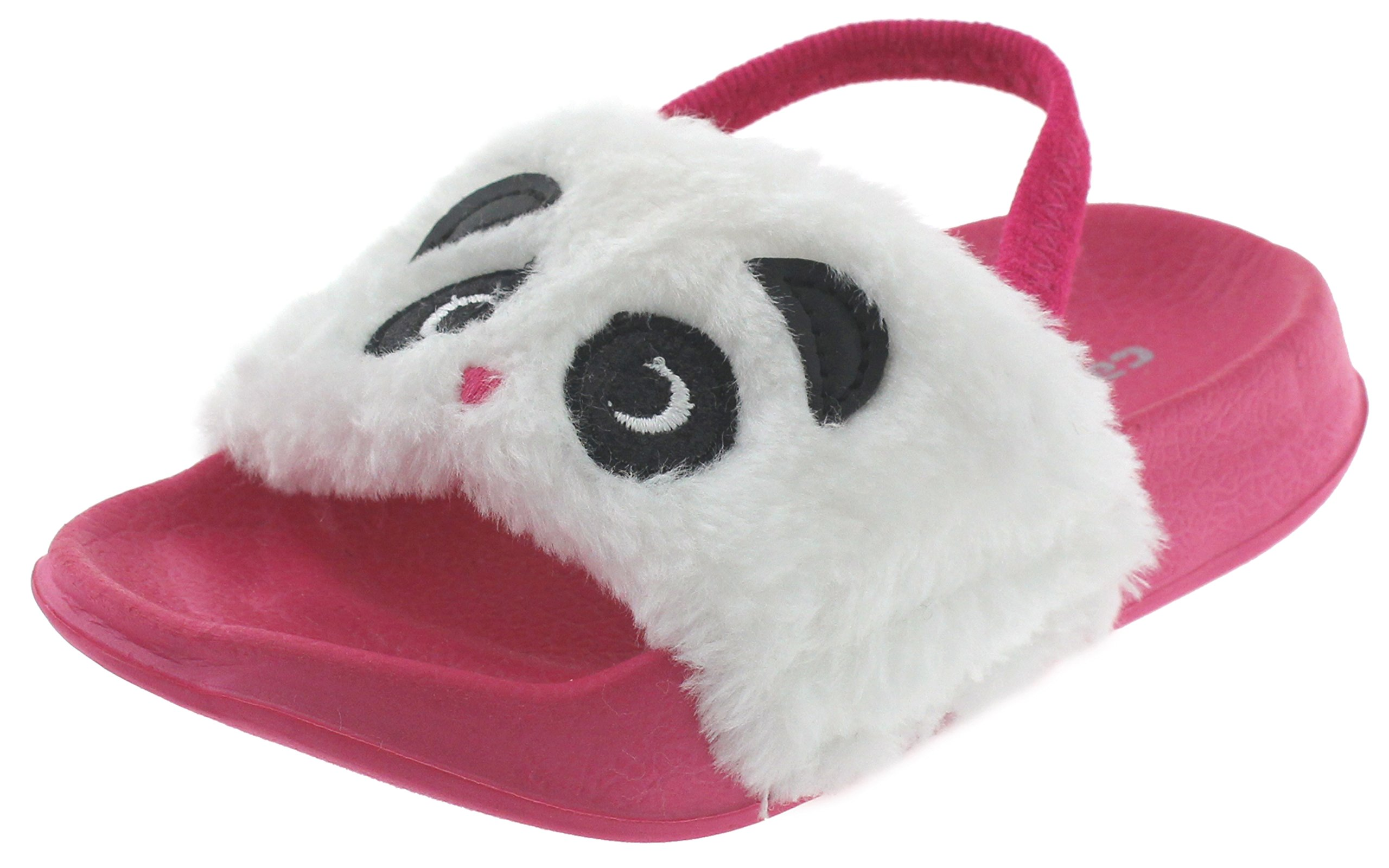 Capelli New York Toddler Girls Gleeful Panda Slide with 3D Ears and Elastic Backstrap Pink Combo 6/7