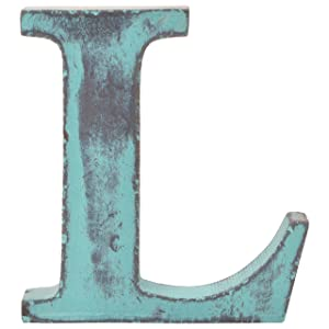 Shabby Chic Vintage Large 11 cm Wooden Letters Hand Finished Alphabets Free-Standing Or Wall Mounted Decor for Weddings Baby Names Signs Unique Personalised Gift. (Teal, Letter L)
