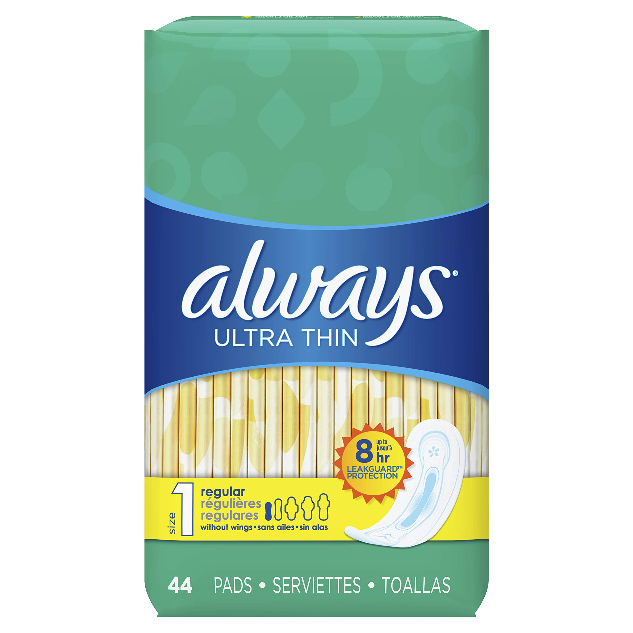 Always Ultra Thin, Size 1, Regular Pads, 132 Count, Unscented (44 Count, Pack of 3 – 132 Count Total)