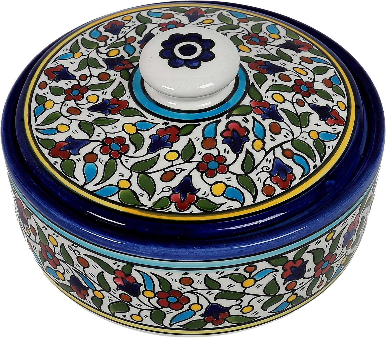 Oriental Arts Handmade Ceramic Tortilla Warmer Container, Tortilla Holder, Pancake Warmer, Tortilla Keeper, Taco Warmer With Lid, ceramic Canister,Cookie Jar Crock (8.7 X 8.7 X 2.8 Inches)