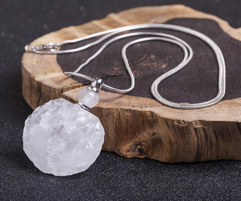 AMOYSTONE 1P Women Necklace Clear Quartz Gemstone Perfume Essential Oil Diffuser Bottle Natural Crystal Pendant Irregular Unpolished