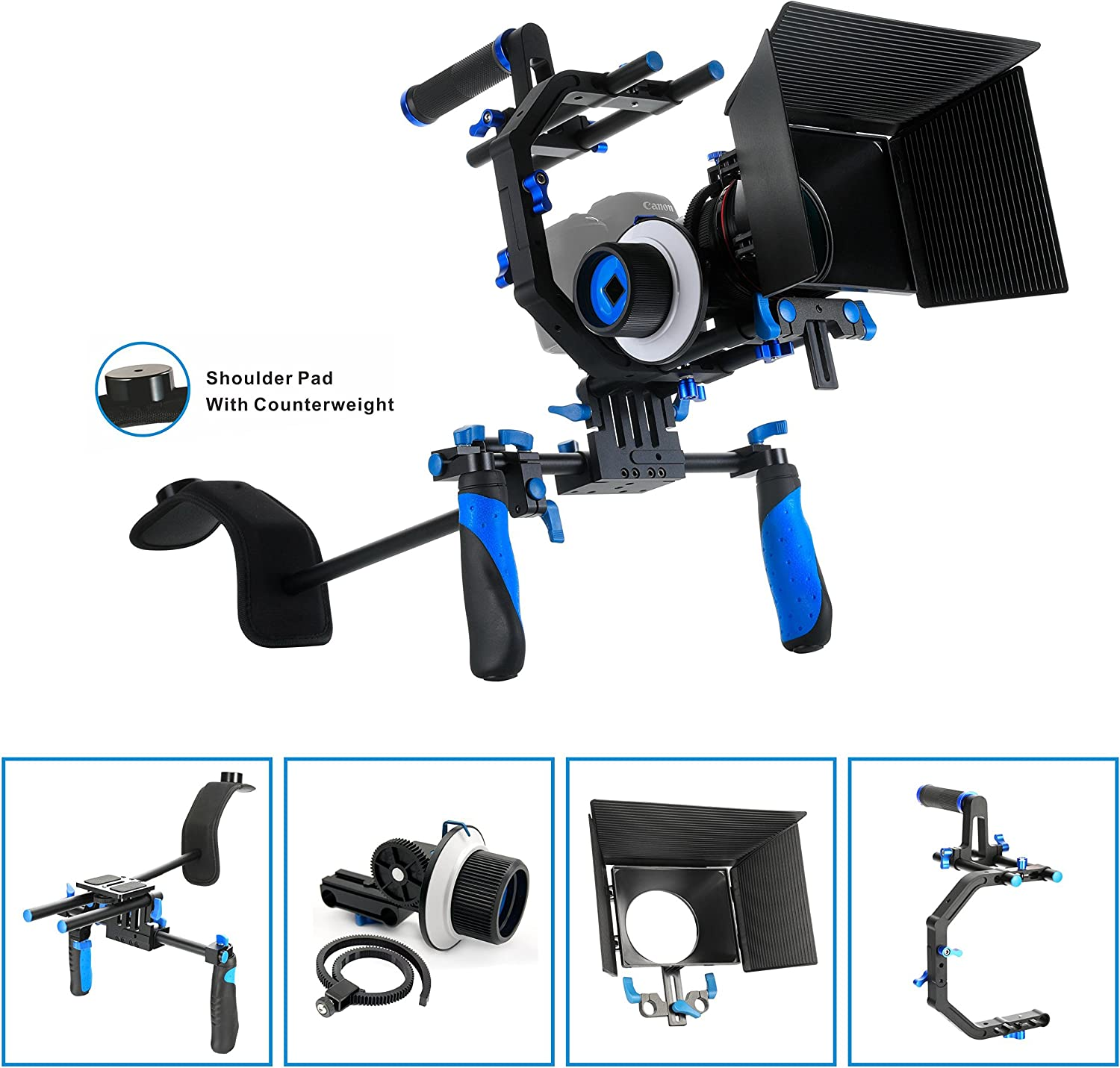 Morros DSLR Rig Shoulder Mount Rig Matte Box for All DSLR Cameras and Video Camcorders Follow Focus not Included