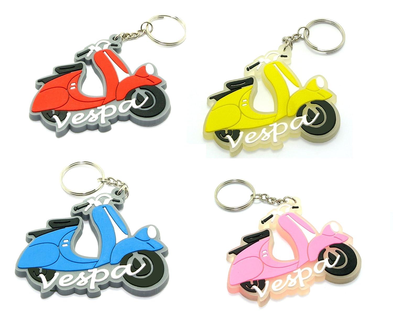 4 RUBBER VESPA MOTORCYCLE KEYCHAIN KEY RING
