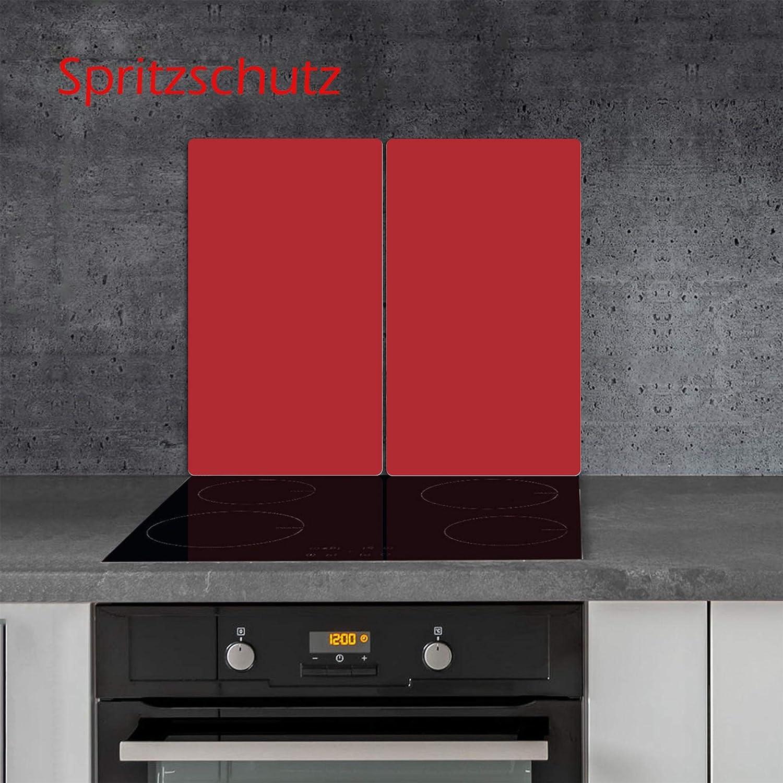 Ceranfeldabdeckung Herdabdeckplatten Dunkel Rot 2x30x52 cm Spritzschutz Glas