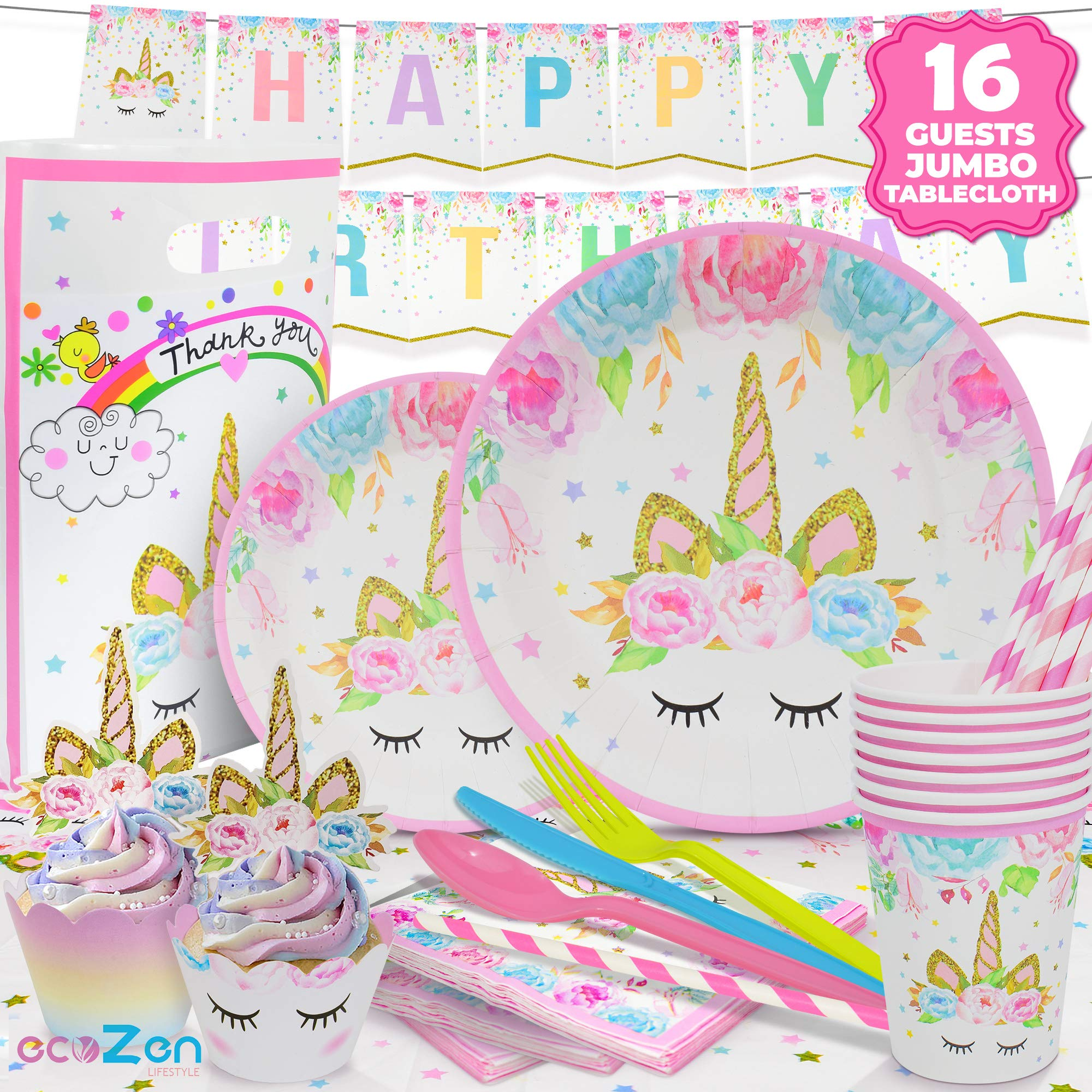 ecoZen Lifestyle Ultimate Unicorn Party Supplies and Plates for Birthday Party | Best Value Unicorn Decorations Set That Give to Make a Long Lasting Magical Memorable Party by ecoZen Lifestyle