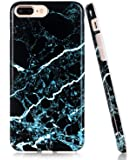 iPhone 8 Plus Case, Black Teal Marble Design, BAISRKE Glossy Flexible Soft Silicone Bumper Shockproof Cover for Apple iPhone 8 Plus & iPhone 7 Plus 5.5 inch