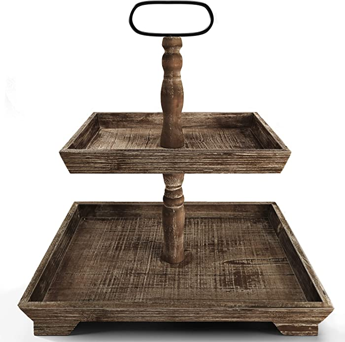 Farmhouse Tiered Tray Stand - Two Tier Tray - Wood Tiered Tray Decor Holder - 2 Tier Tray Stand Farmhouse - Wooden Tiered Stand Farmhouse - Two Tiered Tray Farmhouse - 2 Tiered Tray Farmhouse - Rustic