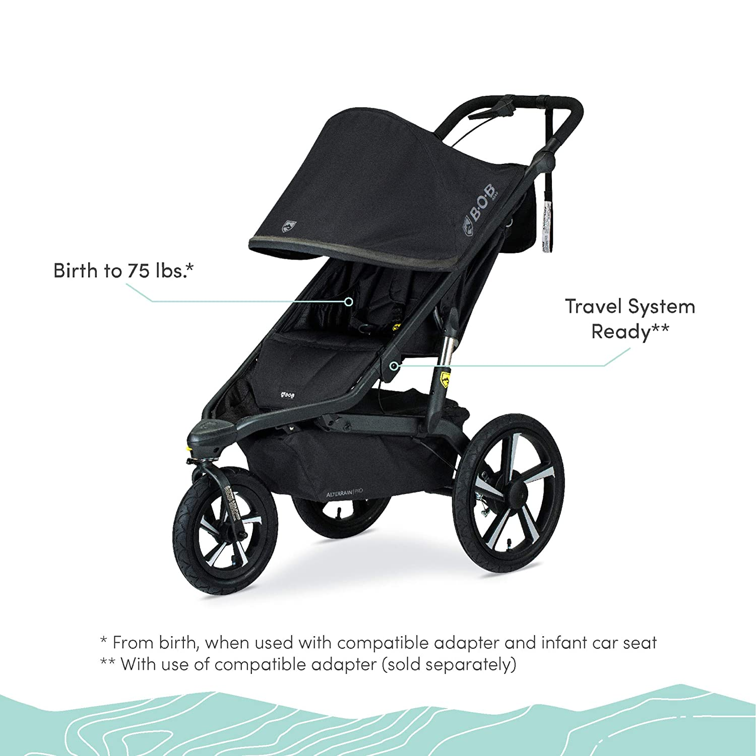 Amazon.com : BOB Gear Alterrain Pro Jogging Stroller | One-Hand Quick Fold  - Smoothshox + Airfilled Tires, Black : Baby