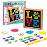 "String Art Kit Craft for Kids 9-12 - DIY Canvas for Boys, Girls, Teens and Adults - Love Edition - Clear Picture Instructions, Large Frame 10""x10"", Pattern Sheet, Colourful Stones, Pins, Cotton Yarn"