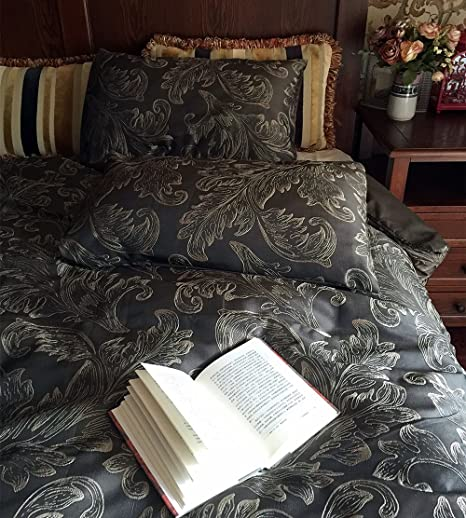 Luxury Floral Duvet Cover Set, Hotel Bedding Set, 1 Pcs Comforter Cover, 2 Pcs Pillowcase Included, Queen, Pewter